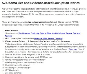 The Many Lies and Corrupt Actions of current POTUS